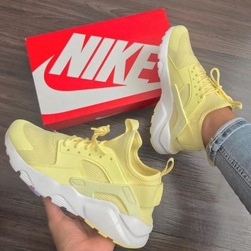 """NIKE""AIR Huarache Running Sport Casual Shoes Sneakers - Yellow"
