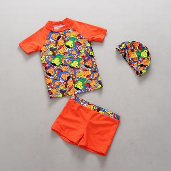 Swimsuit For Baby Boys Summer Two Pieces Beach Bathing Suit With Cap Cartoon Monkey Cute Kids Swimwear