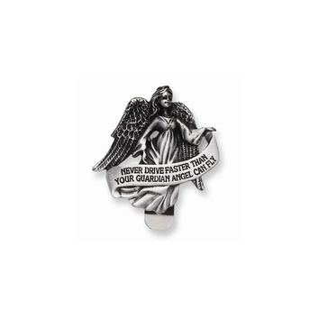 Pewter Finish Guardian Angel Visor Clip - Perfect Religious Gift