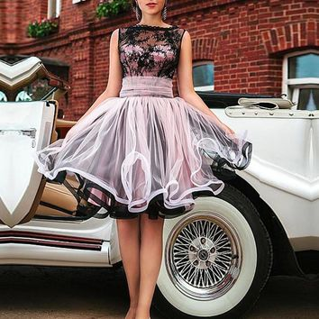 Jark Tozr Custom Made Black Lace Pink Tulle Short Party Gown For Girl 2017 Knee Length Open Back Cocktail Dresses Robe Cocktail