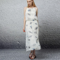 Feather Print Chiffon Dress