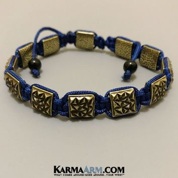 FlatBead Collection: Textured Antique Gold | Navy Blue
