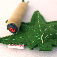 Catnip Marijuana Leaf and Joint Toys Wool Felt