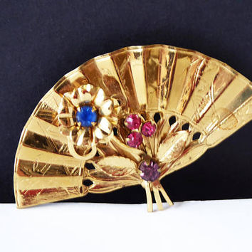 CORO Signed Rhinestone Fan Pin - Etched Design & Rhinestones  w Floral Design Brooch Pin Art nouveau Early 1930's 1940's