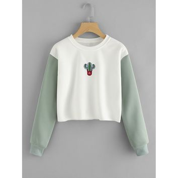 Cactus Embroidered Contrast Sleeve Raw Hem Sweatshirt