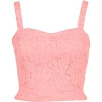 light pink lace cross back bralet - bralets - tops - women - River Island