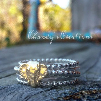 Sterling Silver Stackable Rings, Stackable Rings, Layered Rings, Customized Rings, Elephant Ring, Elephant Jewelry, Elephant Charm, Bands