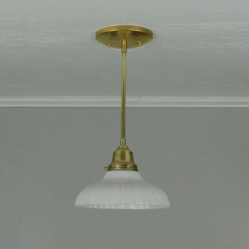 Antique Ribbed Milk Glass Pendant Light