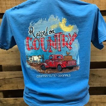 Southern Chics Country Cutie Originals Raised on Country Comfort Colors Girlie Bright T Shirt