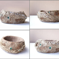 Unique Fiber Art Linen Mesh Bracelet Bohemian Mixed Media OOAK Wide Artsy Bangle