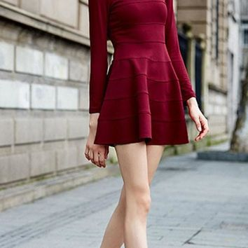 Casual New Women Plain Ruffle Round Neck Long Sleeve Mini Dress