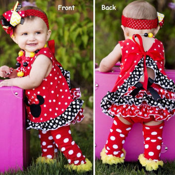 Minnie Mouse Swing Top Outfit, 1st Birthday, Cake Smash, OTT Bow