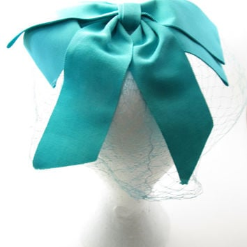 "Aqua Bow ""Something Blue"" Veil Birdcage Net Wedding Hat - 1940s Vintage Bridal Wedding - Bachelorette Veil - Tea Party - Costume"