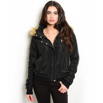 Shop the Trends Women's Long Sleeve Down Jacket With Faux Fur Trim Hood | Overstock.com Shopping - The Best Deals on Jackets
