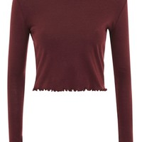 Long Sleeve Lettuce Crop Top | Topshop