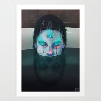 Demon in Bathtub Art Print by Phazed