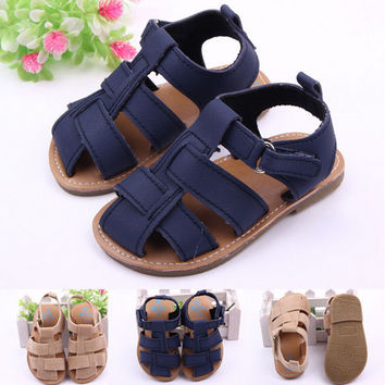 Hot Kids Sandals In/Outdoor Toddler Baby Boys Kids Nubuck Leather Sandal Shoes Free Shipping