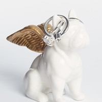 Bulldog Jewellery Holder with Gold Wings