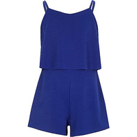 River Island Girls blue textured double layer Romper