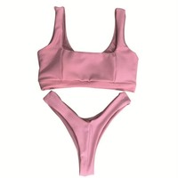 Hot Sale Women Beach Pure Color Vest Style Hight Waist Two Piece Bikini Swimwear Pink