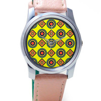 Abstract Tribal Circle Rings Pattern (Yellow) Wrist Watch