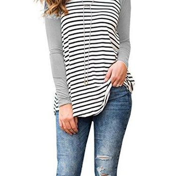 Adreamly Womens Striped Raglan Long Sleeve Baseball T Shirt Tunic Tops