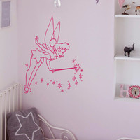 Tinkerbell Wall Vinyl Decals Disney Princess Silhouette Peter Pan Bedroom Decal Wall Stickers Baby Nursery Wall Art Kids Room Decor Q066