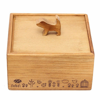 3D Cute Animal Wooden Jewelry Storage Box