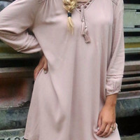 The Athens Long Sleeve Hi-Low Tan Peasant Dress With Crochet Details