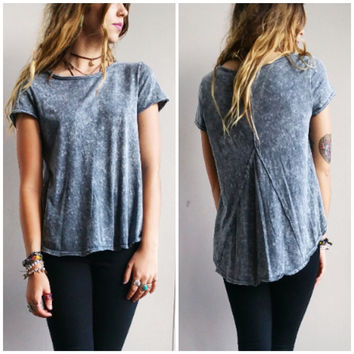 A Stone Wash Tee in Light Grey