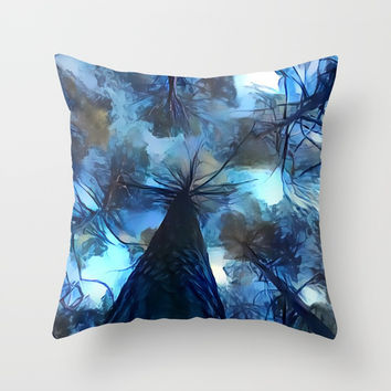 Blue forest, dark sky view, abstract spooky artwork, sad winter trees, dark blue colors nature theme Throw Pillow by Casemiro Arts - Peter Reiss