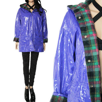 90s Purple PVC Raincoat Wippette Plaid Interior Shiny Vinyl Hooded Winter Outerwear Hipster Clothing Womens Size Medium Large