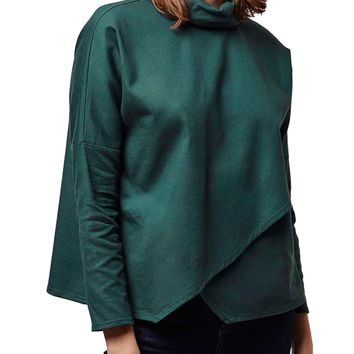 Topshop Roll Neck Split Front Shirt | Nordstrom