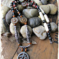 OM OM OM Pendant Necklace~Picasso Beaded Bohemian~ Hippie~ Gypsy~ Necklace~Women's Jewelry~Mdogstudios~