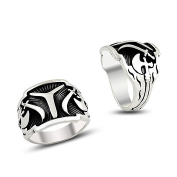 Turkish monogram ax band silver mens ring