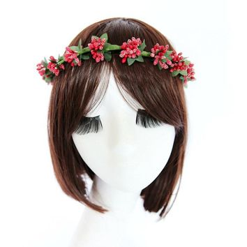 Fashion Floral Headband Hair Aaccessories Mori Women Girls Photo Portrait Tool Fruit Wreath Hair Ornaments Jewelry Headwear