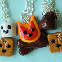 Smores and Campfire Friendship Necklaces for 5 Best Friends