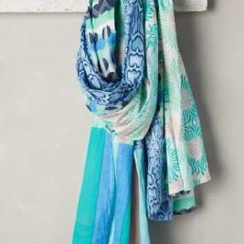 Oasis Scarf by Erfurt Blue Motif One Size Scarves