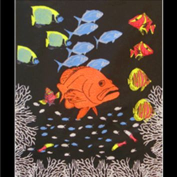 Fish at College Blacklight Wall Tapestry for college dorms