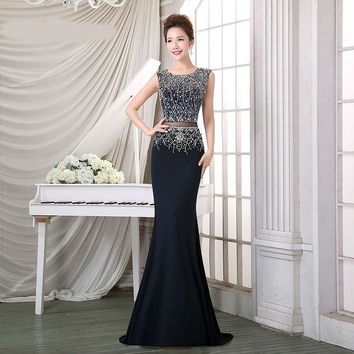 Dark Blue Evening Dresses Long Elegant O-Neck Sleeveless Crystal Beading Prom Dress Illusion Floor Length Party Gowns