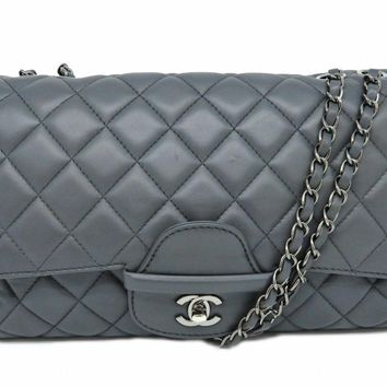 Chanel Classic Flap Jumbo Chain Shoulder Bag Quilted Lambskin Grey 0203