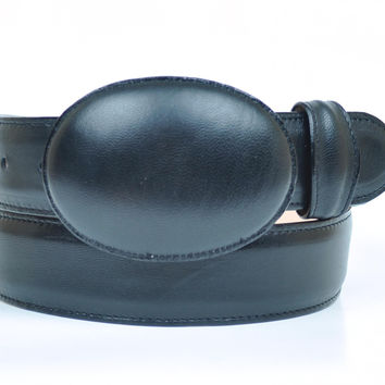 Gavel Men's Full Grain Goatskin Leather Black Western Belt