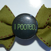I Pooted Olive Green Bow on a French Clip by ellecuddy on Etsy