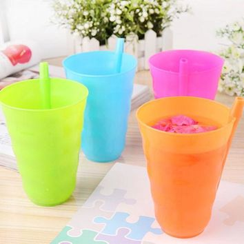 DCCKL72 1Pc/4Pcs Creative Toddler Kids Training Cup Plastic Juice Drinking Mug Tumbler with Straw Fpr Easy Drinking Tools 4 Colors