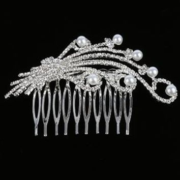 Hair Accessory Pearl And Rhinestone Hair Comb Wedding Formal 3 3/4 Inch Wide