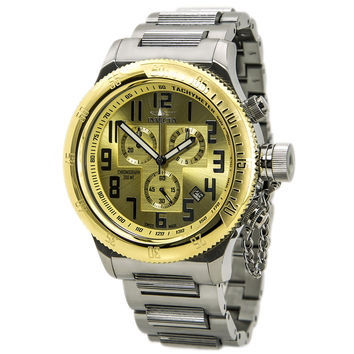 Invicta 15554 Men's Russian Diver Gold Dial Steel Bracelet Chronograph Dive Watch
