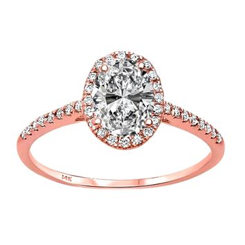 0.15ct Side Diamond in 14K Rose Gold Oval Halo Semi Mount Ring