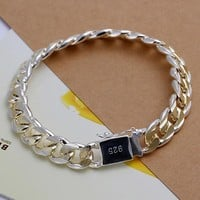 silver bracelets for men and woman Stamped 925 and golden link chains square