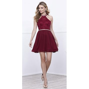 Burgundy Halter A-line Short Homecoming Dress Embellished Waist