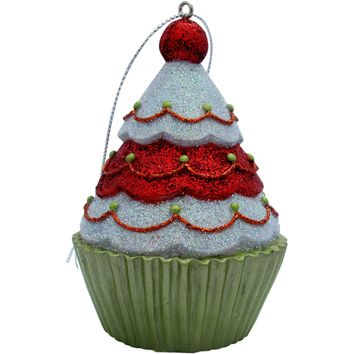 Red/White Tree Top Cupcake Christmas Tree Ornament